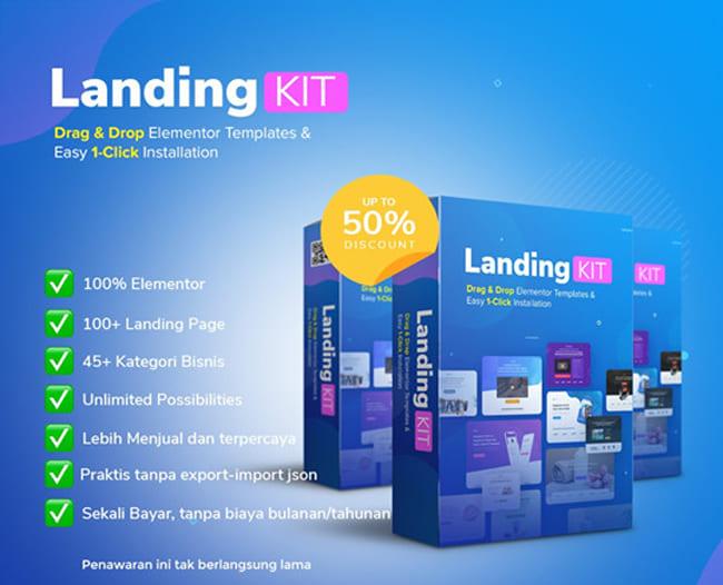 LandingKit Elementor, Promosi Bisnis Jadi Joss
